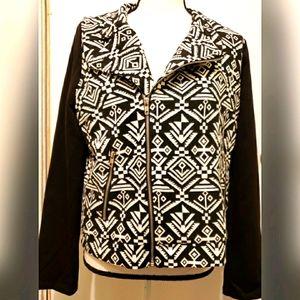 Fury Moto Jacket Black White Pockets Patterned